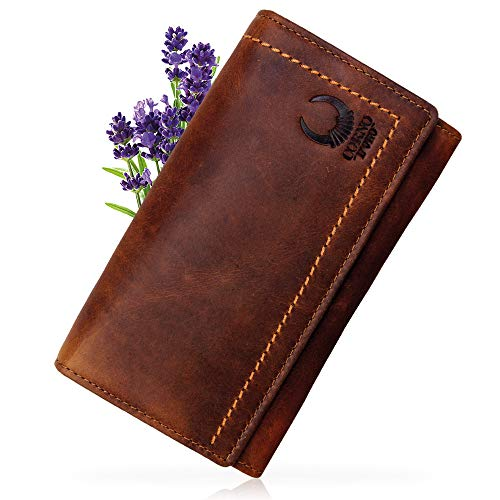 Corno d´Oro Große Damen Geldbörse Leder mit RFID Schutz I Langer Geldbeutel Braun in Geschenkbox I Vintage Portemonnaie mit Handyfach CD104L