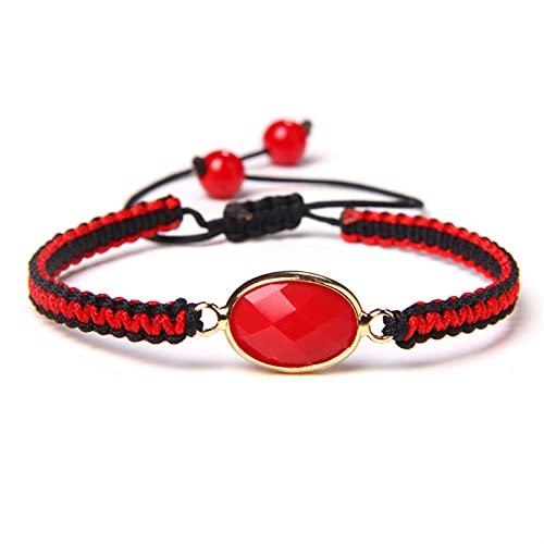JKLJKL Bracelets Moda Lucky Tejido Pulsera de Piedra Pulsera Charm Hombres Damas Ajustable Finas Hecho A Mano Joyería Regalos De Amistad Pulsera (Metal Color : Red Stone)