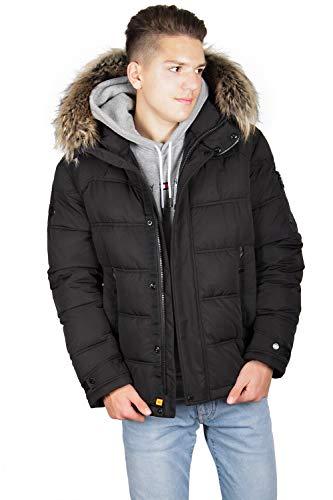 Grimada U18707 heren winterjas gewatteerde jas Shark Force in dons-look met echt bont aan de capuchon (lengte ca. 77 cm)