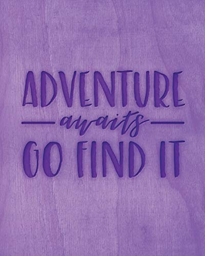 Adventure Awaits Go Find It: Family Camping Planner & Vacation Journal Adventure Notebook | Rustic BoHo Pyrography - Purple Timber