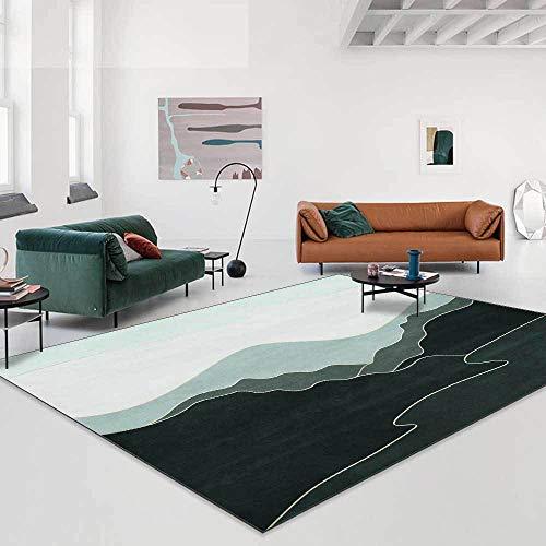 Rug Modernas Dormitorio Sala de Estar Antideslizante Mat Durable Fácil Mantenimiento Líneas de Paisaje Degradado Abstracto Verde 140X200CM(4.6ft x 6.5ft)