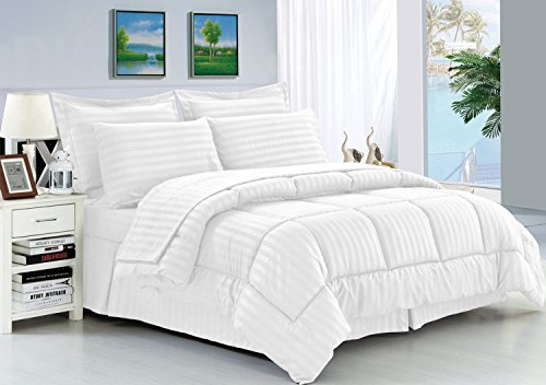 Elegant Comfort Wrinkle Resistant - Silky Soft Dobby Stripe Bed-in-a-Bag 8-Piece Comforter Set -Hypoallergenic - King White