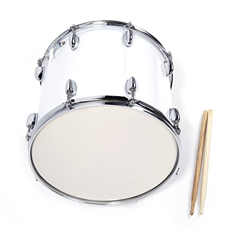 """Festnight Snare Drum Kit 14"""" x 10"""" Professional Marching Snare Drum with Drum Stick Carrying Strap and Wrench Kit White"""