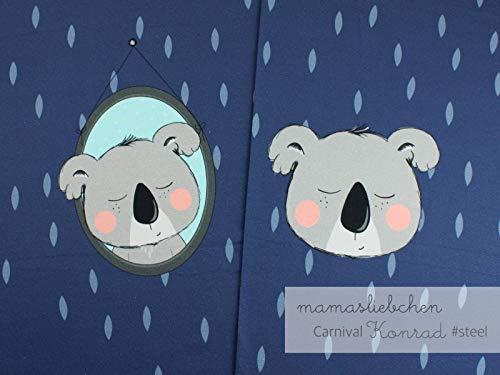 Mamasliebchen Jersey-Stoff Carnival Konrad #Steel (ca. 0,6m / 1Panel) Koala Koalabär Panel