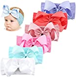 Makone Handmade Nylon Headband with Bows Stretchy Pom Pom Bun 5.5 inch Big Hair Bow Headband for Infant Baby Girls-6PCS Light Bows