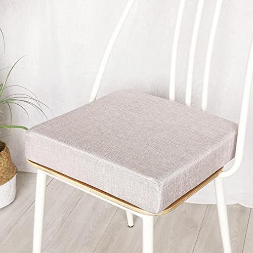 jHuanic Cojín de asiento para silla de jardín, 45 x 45 cm, 50 x 50 cm, cojines antideslizantes para asiento de interior y exterior (50 x 50 x 3 cm), color beige