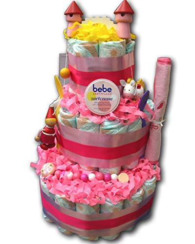 Tarta de pañales mágica para pañales, rosa caballero y princesa para niñas, regalo para bebé, fiesta de bebé, bautizo, nacimiento