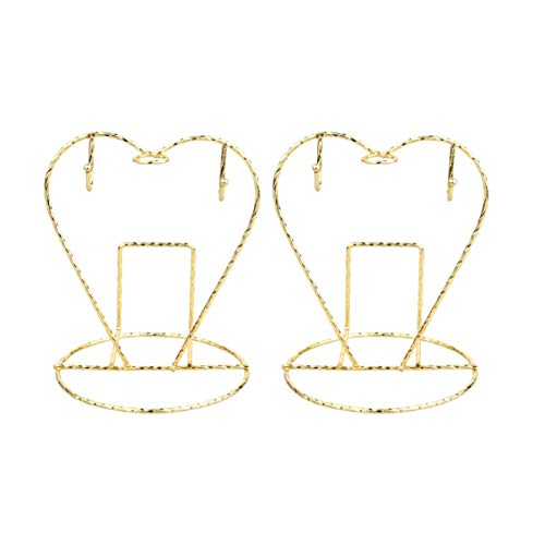 Toyvian 2Pcs Stainless Steel Cup Plate Holder Heart-Shaped Coffee Mugs Hanging Stand Kitchen Organizer Drying Shelf for Kitchen Home Bar Golden