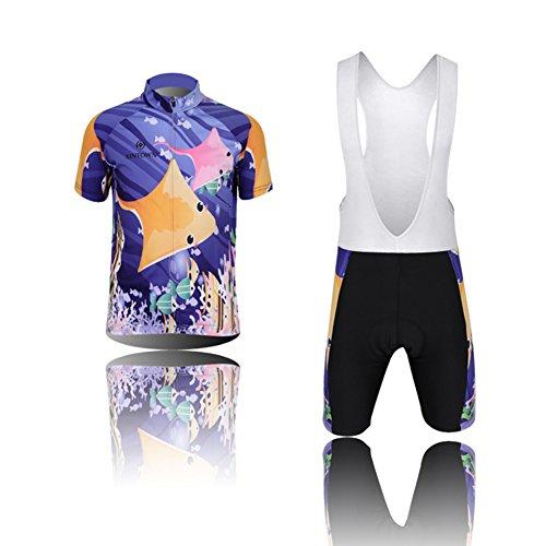 YFCH Unisex Bambino/Bambina Sportiva Maglia e Pantaloncino Shorts Ciclismo Bicicletta, Tuta da Pesca Oceanica, XL/Consiglia l'altezza:129-139cm