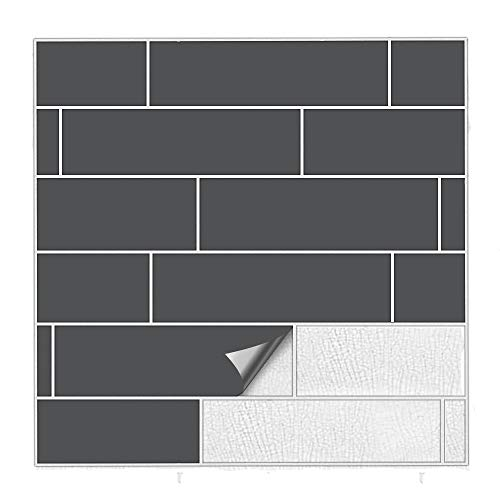 Kiwistar Fliesenaufkleber Dunkelgrau 73 Seidenmatt - 5 x 20 cm - 50 Stück - Für Bad, Küche etc