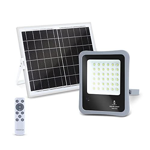 Aigostar - Foco proyector LED solar con mando a distancia, 100W, 6500K luz blanca. Resistente al agua IP65. Perfectos para exterior jardín, patios, caminos o garajes