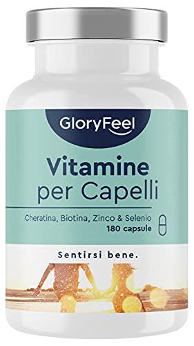Vitamine per Capelli, 180 capsule, + Cheratina, Biotina, Zinco & Selenio ed Estratto di...