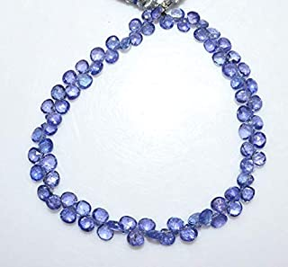 Gems-World Jewelry 1 Strand Tanzanite Heart Shape Beads - Tanzanite Faceted Briolette, Tanzanite Briolette, 3.5x3.5-5x5 mm, 8