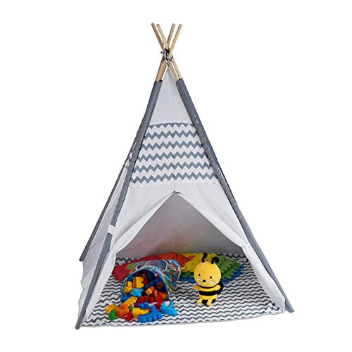 Relaxdays 10035300 Tipi Zelt für Kinder, mit Boden, Kinderzimmer Zelt, Wigwam Kinderzelt, HxBxT: 150 x 120 x 120 cm, weiß-grau
