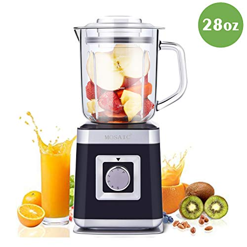 Personal Blender, MOSAIC Small Juice Maker with 28 oz (0.8L) Glass Container, 6 Durable Stainless Steel Blades and 5 Speed & Pulse Settings for Fruit, Vegetable and Juice
