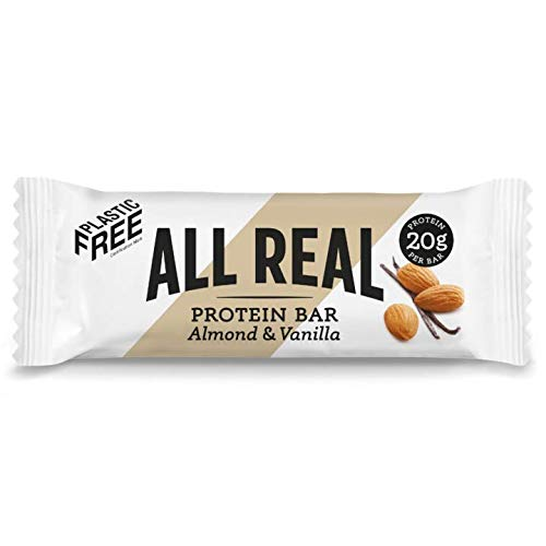 All Real 100% Natural Plastic Free Protein Bars - Almond & Vanilla 60g 16 Pack |Sustainable Nutrition | Plastic Free Packaging | All Natural Ingredients | 20g Protein Bar