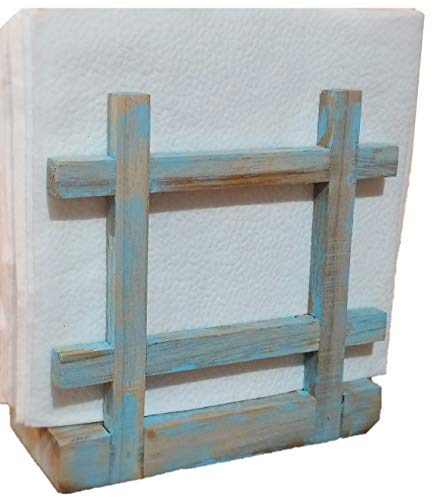 Rustic Barnwood Country | Beach | Nautical thyme Cross Corner Style Napkin Holder, Table Top Paper Towel Dispenser in Vintage Weathered Blue/Turquoise Finish