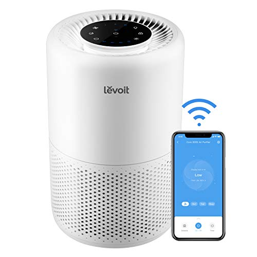 LEVOIT Smart WiFi Air Purifier for Home, Alexa Enabled H13 True HEPA Filter for Allergies, Pets, Smokers, Smoke, Dust, Pollen, 24dB Quiet Air Cleaner for Bedroom with Display Off Design, Core 200S