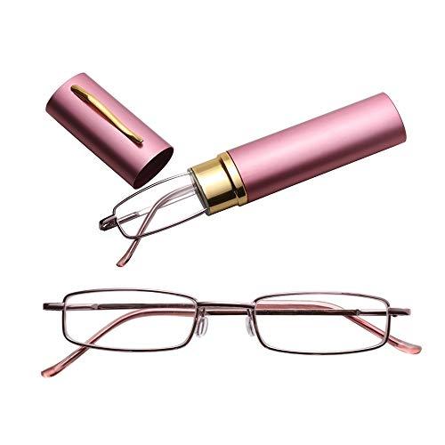 JSANSUI leesbril Cheap leesbril met metalen veer aan de voet draagbare bril met behuizing (2.00D)