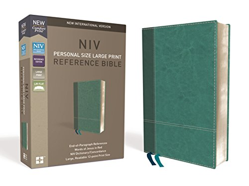 NIV, Personal Size Reference Bible, Large Print, Leathersoft, Teal, Red Letter, Comfort Print