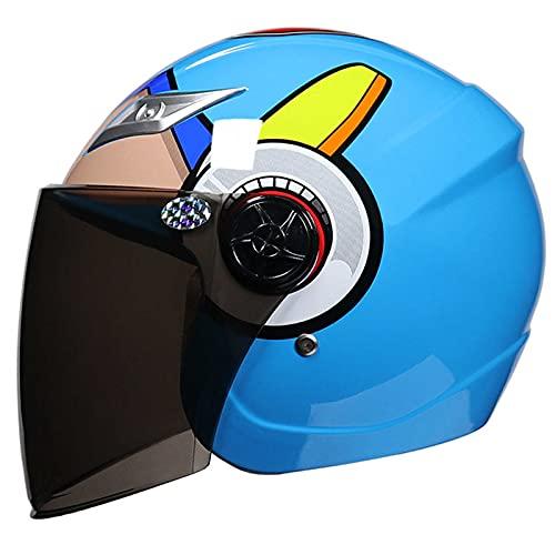 HVW Casco de Motocicleta para niños, Motocross de Dibujos Animados Medio Casco cómodo Transpirable Motocicleta eléctrica Casco de Scooter de ciclomotor para niños niños niñas de 3 a 9 años,Azul