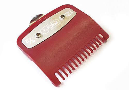 Peine profesional con guía de corte de metal 1/2 1,5 mm en rojo, ajuste – Super Taper, Chromepro, Balding, Magic 5 Star y otras cortadoras estándar de tamaño completo
