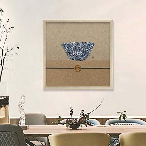 WANGXINQUAN Pintura de la sala de estar pintada una pieza cuadrada de comida física Restaurante pinturas de pared viento chino 60 x 60 cm