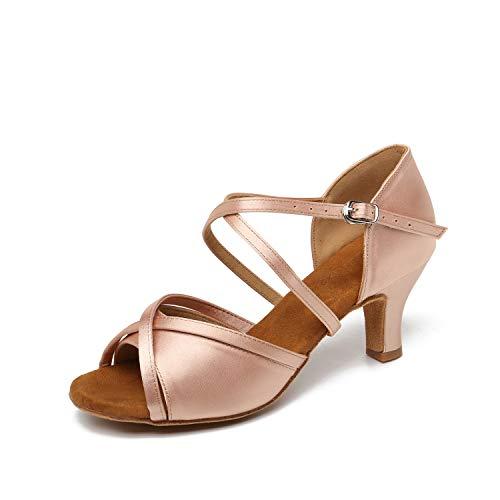 """JZNXdanza Ballroom Dance Shoes for Women Latin Salsa Tango Dancer Shoes Dancing Heels Suede Sole with 2.4"""" Heel Z03 (Nude-2.4"""" Heel,8)"""