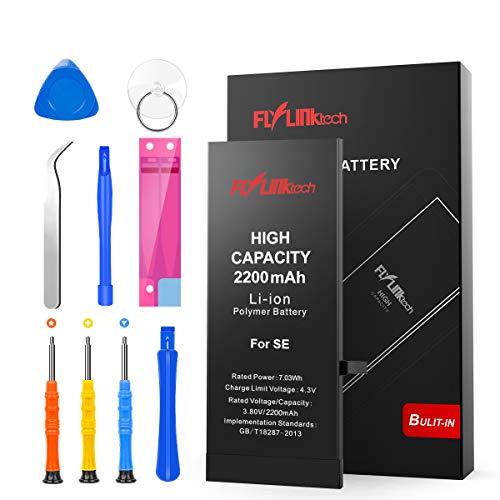 Batería para iPhone SE 2200mAH con 34% más de Capacidad Que la batería Origina, FLYLINKTECH Reemplazo de Alta Capacidad Batería para iPhone SE con Kits de Herramientas de reparación, Cinta Adhesiva