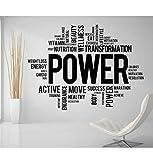 Citas De Motivación Power Fitness Words Tatuajes De Pared Gym Cita Inspiradora Decoración Para El Hogar Pegatina Vinilos Art Adesivo Parede 57X75Cm