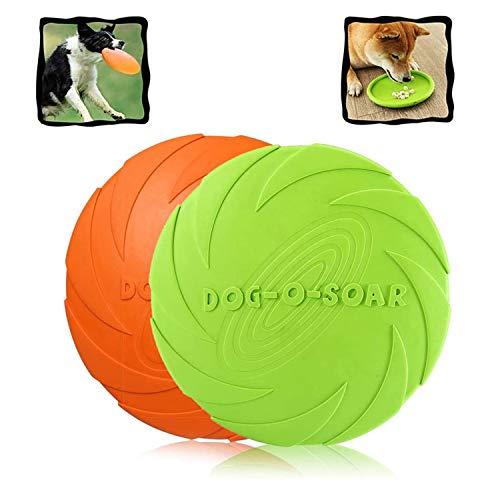WELLXUNK Hunde Frisbees,Hund Scheibe, 2 Stück hundespielzeug Frisbee,Gummi Frisbee,für Land und Wasser,Hundetraining, Werfen, Fangen & Spielen(Grün + Orange)