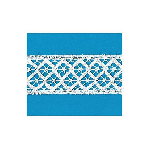 Cinta de Encaje de Bolillos Entredos Blanco para vestidos de Flamenco manualidades costura creativa Altura cm.5 Paquete mt.10 Art.1809