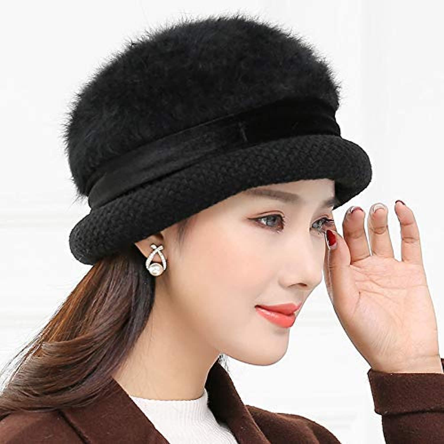 Sports Hat Mother hat MiddleAged Ladies Knitted hat Double Thick Warm Wool hat Ear Predector Old hat (color   Black) Outdoor Cap