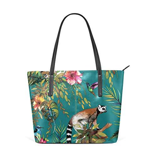 XGBags Custom Borsa a tracolla in pelle PU da donna Womens Purse Cute Animal Cool Lemur PU Leather Shoulder Tote Bag