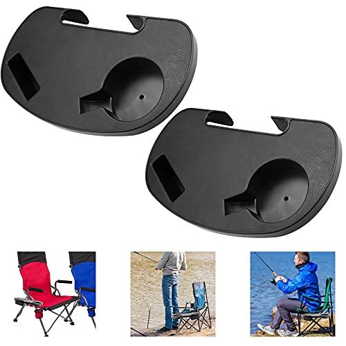 GOLRISEN Mesas laterales con clip, bandeja para teléfono y soporte para tazas, fácil de enganchar, adecuado para tumbonas, sillas de camping, sillas de pesca y muchos más