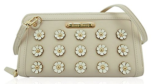 Anna Smith 3D Rows Of Flowers Matinee Large Purse - Cream