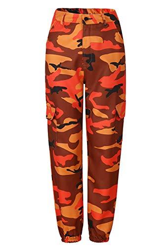 Pantalones casuales para mujer, estilo hip hop de camuflaje estampado, casual, pantalones harén naranja XL