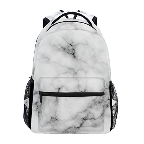 Wamika Marble Backpacks for Girls Kids Boys Griotte Stone School Book Bags Waterproof Student Laptop Backpack Black and White College Carrying Bag Casual Durable Lightweight Travel Sports Day Packs