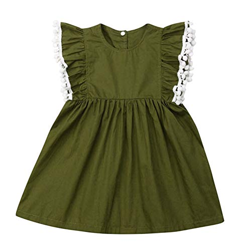 Zoiuytrg Toddler Baby Girl Ruffle Tassels Pleated Dress Kids Sleeveless Princess Party Sundress One Piece Outfit (Green, 1-2T)