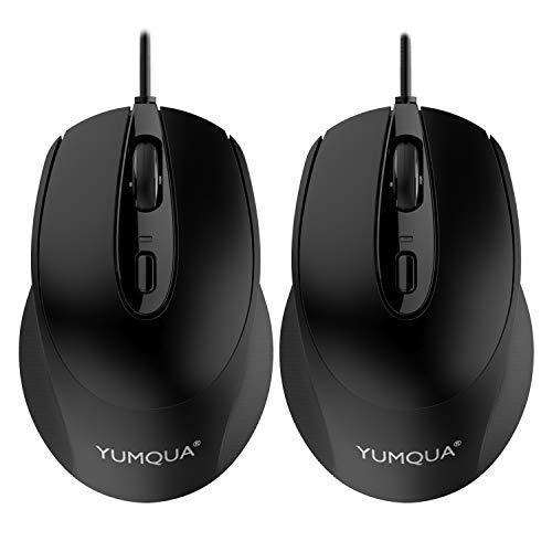 YUMQUA USB Maus mit Kabel 2 Pack, Office Leise Computer Maus, 2 DPI (800/1200) Optische Maus für Laptop, Computer, Mac(Schwarz)