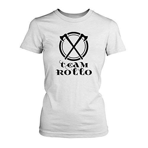 Fashionalarm Damen T-Shirt - Team Rollo | Fun Shirt für Fans der Serie TV DVD Blu Ray | Vik-ings Wikinger Axt Äxte Siggy Valhalla, Farbe:weiß;Größe:XL