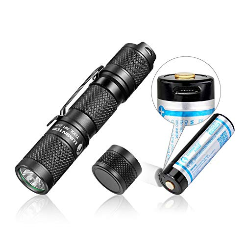 EDC Small Flashlight,LUMINTOP Tool AA Flashlight with Rechargeable 14500 920mAh Battery and Magnetic Tail, IPX-8 Torch Super Bright 650LM, Waterproof Flashlight for Camping, Hiking, Dog Walking