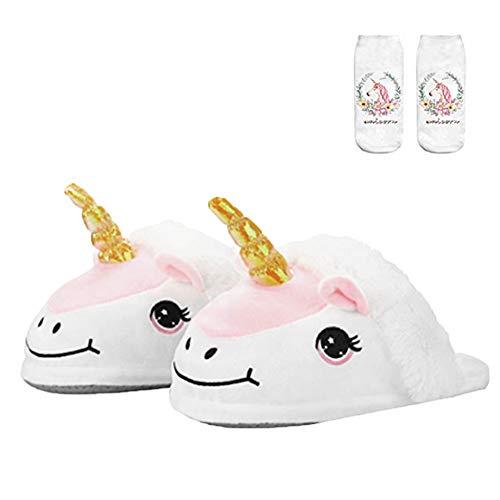 SKY TEARS Felpa Unicornio Zapatillas de Estar por casa, Felpa y Algodon Pantuflas Unicornio para Adulto (36EU-44EU) (Blanco- B)