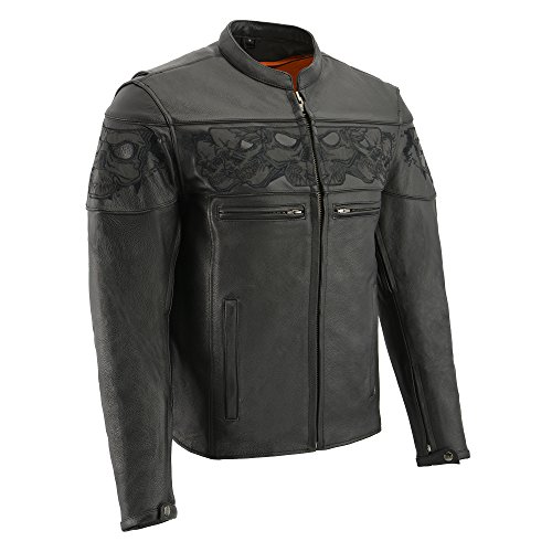 Milwaukee Men's Crossover Scooter Jacket with Reflective Skulls (Black, Large)