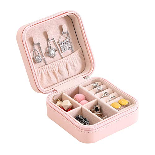 PASLWSSY Jewellery Box Organiser, Small Travel PU Leather Jewelry Portable Storage Case for Rings Earrings Necklace Bracelets, Faux Leather Jewelry Gift Box Girls Women,Pink
