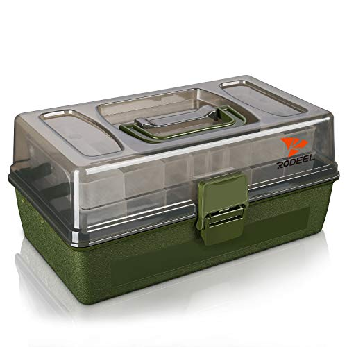 Rodeel 2 Trays Cantilever Fishing Tackle Box, Adjustable Compartments