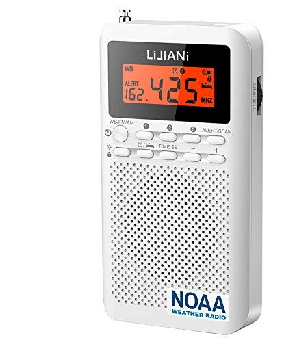 [2021] NOAA Weather Radio-Emergency AM/FM Battery Operated Portable Radio with LCD Display Digital Alarm Clock Sleep Timer, Best Reception Longest Lasting Transistor,Powered by 2 AA Built in Speaker