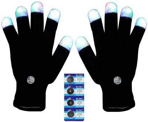 Bojetal LED Gloves Finger Light Up Glow Rave Glove Flashing Christmas Xmas Gift Halloween Costume product image