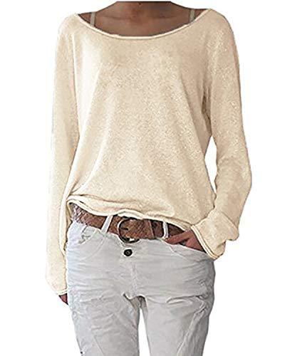 Samhuiyuan Damen Pulli Langarm T-Shirt Rundhals Ausschnitt Lose Bluse Langarmshirts Sweatshirt Hemd Pullover Sweatshirt Oberteil Tops Shirts (XXL, Aprikose)