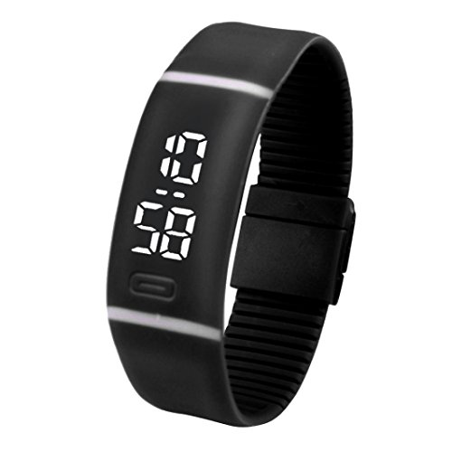Yesmile Relojes❤️Reloj para Hombre de Goma LED para Mujer Fecha Reloj Deportivo Pulsera Reloj Digital (Negro)